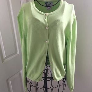 Lilly PULITZER Lime Green Cotton Cardigan Sz M